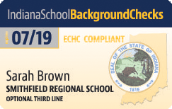 Sample Indiana School Background Checks card